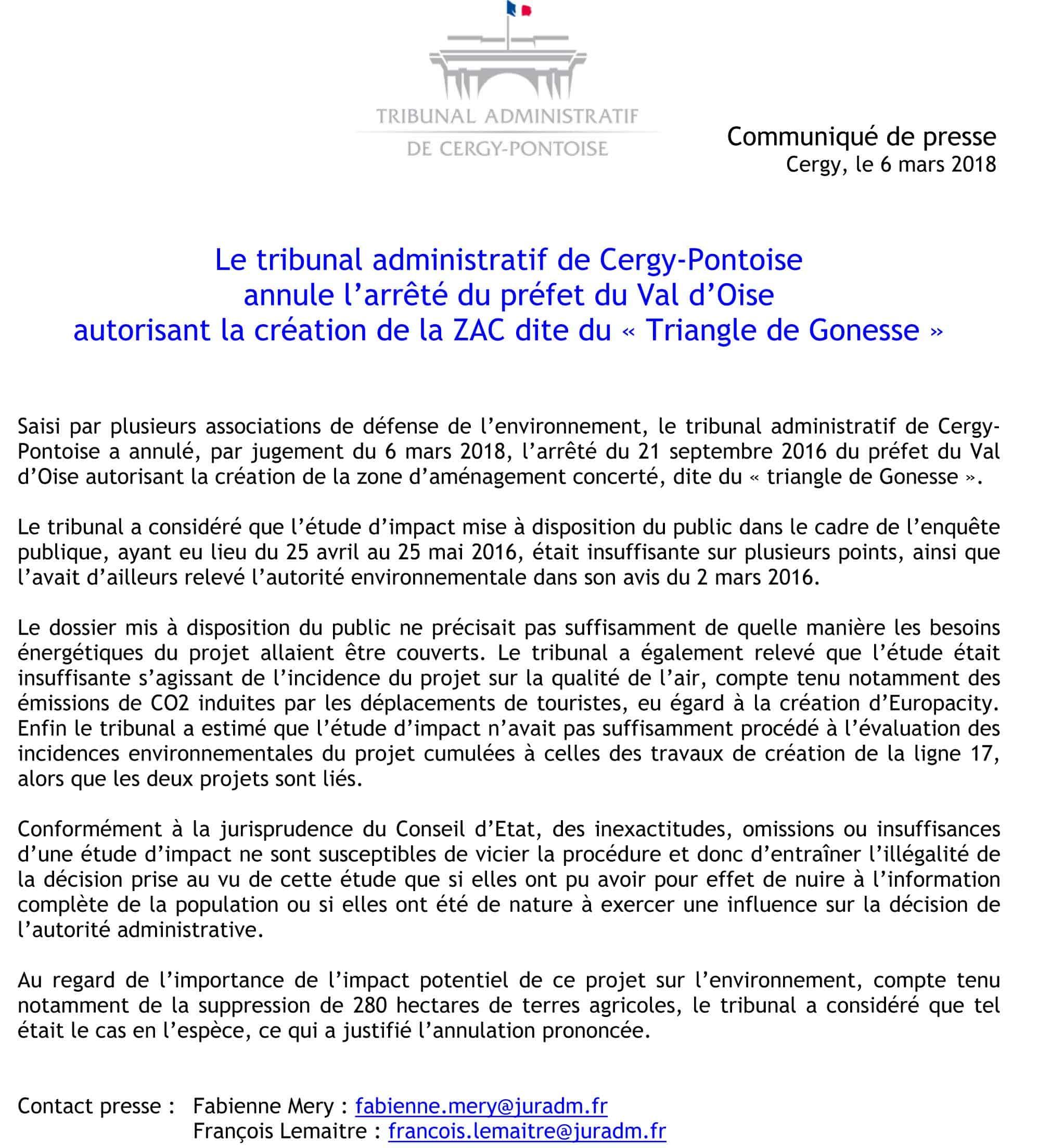 Communiqué de presse annulation ZAC du Triangle de Gonesse