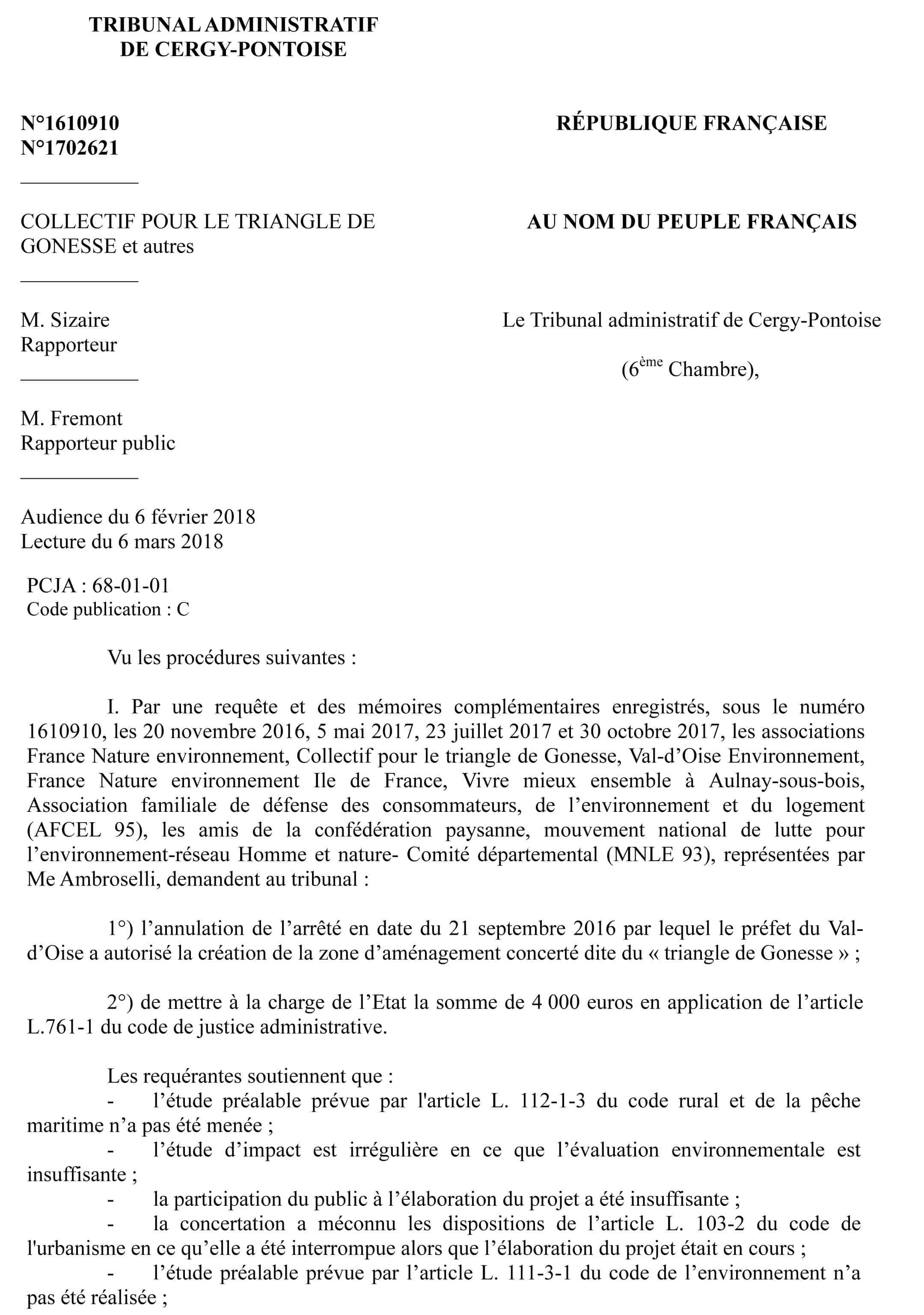 Texte du jugement annulation de la zac triangle de Gonesse